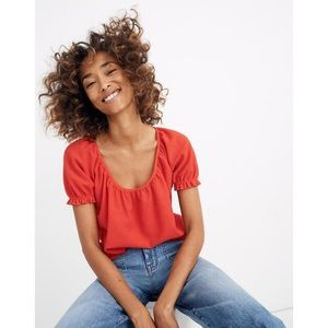 Madewell Texture and Thread   Red Peasant Top